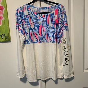 Lilly Pulitzer large Finn tee NWT blue haven